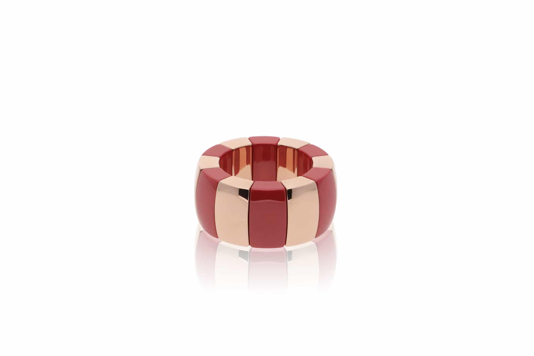 Elastic ring Aura Domino gold plated high-tech ceramic