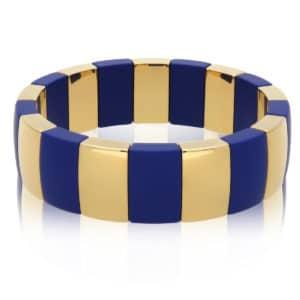 Elastic bracelet Aura Domino gold plated high-tech blu matt ceramic