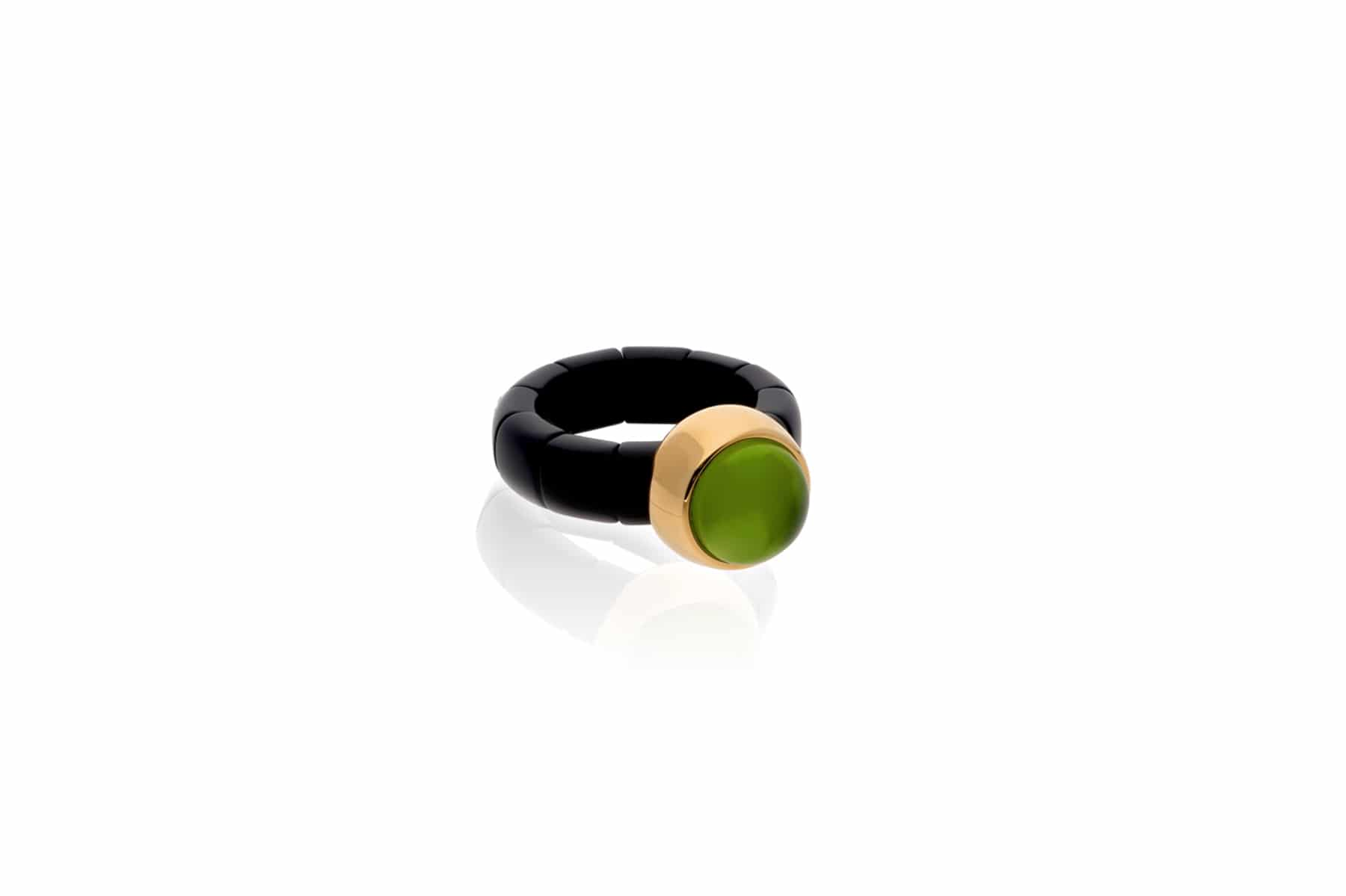 Elastic ring Aura Dama gold plated high-tech ceramic